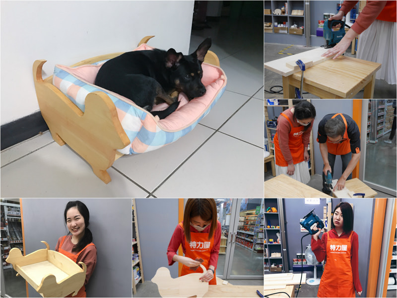 台中寵物睡床DIY |自己的寵物睡床自己做!「特力屋西屯店 木工手作課程」:狗床DIY 自己鋸木頭好厲害(台中文創)