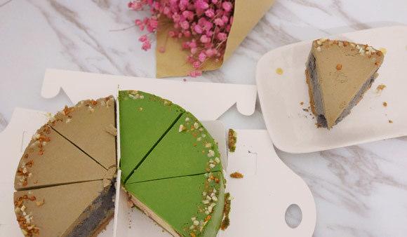 宅配甜點美食|創意多變的超讚乳酪口味:「品好乳酪蛋糕」100%北海道乳酪 抹茶草莓+黑芝麻鐵觀音(重乳酪蛋糕雙拼)